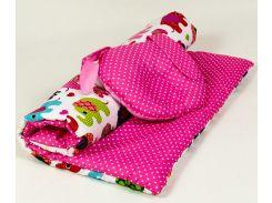 """Комплект в коляску розовый с ортопедической подушкой """"Зайка"""""""