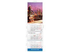 Календарь квартальный постер (шапка) А3 на три пружины, одно рекламное поле , 2018