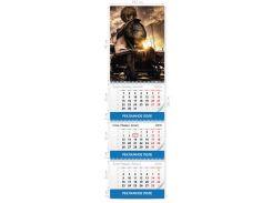 Календарь квартальный постер (шапка) А3, три пружины, три рекламных поля 2018