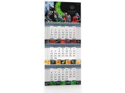 Календарь квартальный на три пружины, три рекламных поля 2018
