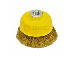 Щітка Чашка , М14, латунована рифлена, 100мм Technics 17-908 | щетка рифленая