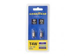 Лампа накаливания автомобильная Goodyear T4W 12V 4W BA9s (блистер: 2 шт.)