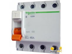 Дифференциальный автоматический выключательSchneider ВД63 4П 40A 300МA (11465)