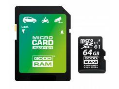Карта памяти Goodram microSDXC 64GB UHS-I/U3 Class 10 + SD-adapter (M3AA-0640R11-DD)