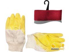 Перчатки стекольщика тканевые покрытые рифленым латексом на ладони (желтые) (ящик 120 пар) (SP-0002W)