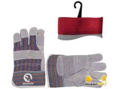 Перчатки комбинированные из замша и ткани 10.5 SP-0014W (ящик 120 пар)