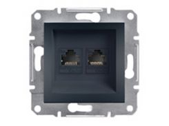 Розетка компьютерная двойная Schneider Electric Asfora Антрацит (EPH4400171)