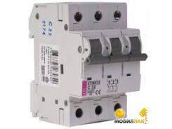 Автоматический выключатель ETI Etimat 10 3p C 63А (6 kA)