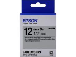 Картридж с лентой Epson LK4SBM Metallic Black-Silver 12мм/9м (C53S654019)