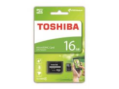 Карта памяти Toshiba M102 microSDHC 16GB Class 4 + SD-adapter (THN-M102K0160M2)