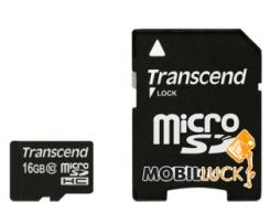 Карта памяти Transcend 16GB microSDHC Class 10 (adapter SD) (TS16GUSDHC10)