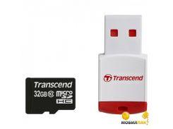 Карта памяти Transcend microSDHC 32GB Class 10 (+ RDP3 кардридер) (TS32GUSDHC10-P3)