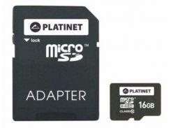 Карта памяти Platinet microSDHC 16 GB Class 10 + SD adapter (PMMSD1610)