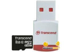 Карта памяти Transcend microSDHC 8GB Class 10 (+ RDP3 кардридер) (TS8GUSDHC10-P3)
