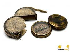 Компас Даршан бронза в кожаном чехле Brass Liburnia Ship Compass d-9 h-3 см (26602)