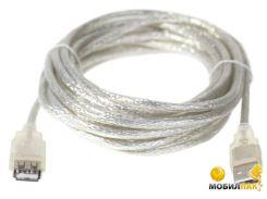 Кабель Patron USB2.0 AM/AF прозрачный 1.8m пакет (PN-AMAF-18-PR)