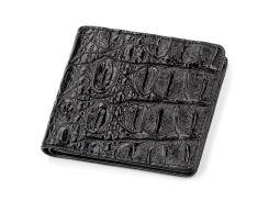Портмоне Ekzotic Leather из натуральной кожи крокодила Черное   (cw 47)