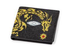Портмоне мужское Ekzotic leather из натуральной кожи морского ската Черное (stw 48)