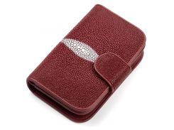 Кошелек женский Ekzotic leather из натуральной кожи морского ската Бордовый (stw 73)