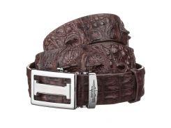 Ремень-автомат Ekzotic Leather из натуральной кожи крокодила Коричневый   (crb 18)
