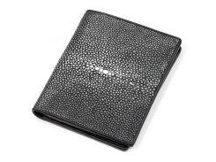 Вертикальное портмоне Ekzotic leather из натуральной кожи морского ската Черное (stw 47)