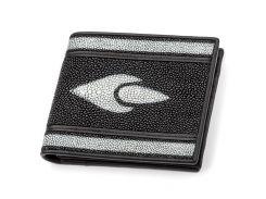 Портмоне Ekzotic leather из натуральной кожи морского ската Черное  (stw 54)