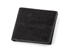 Кошелек Ekzotic leather из натуральной кожи морского ската Черный  (stw 37)