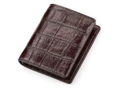 Портмоне Ekzotic Leather из натуральной кожи крокодила Коричневое   (cw 50)