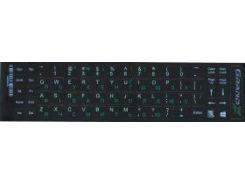 Высококачественные буквы на клавиатуру ноутбука Grand-X 68 клавиш, англ. белые (укр. зеленые) непрозрачная основа (GXDGUA)