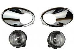 Противотуманные фары для Nissan Qashqai '10-14 комплект с рамками бампера (Dlaa)