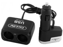Разветвитель прикуривателя на 2 гнезда +USB CS303 (CarLife)