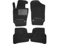 Коврики в салон для Volkswagen Polo '09-17 хетчбек текстильные, черные (Люкс) 4 клипсы