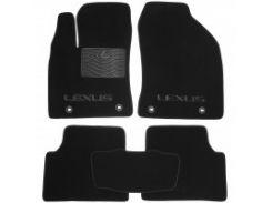 Коврики в салон для Lexus CT 200H '11- текстильные, черные (Премиум) 4 клипсы