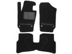 Коврики в салон для Volkswagen Polo '09-17 хетчбек текстильные, черные (Премиум)