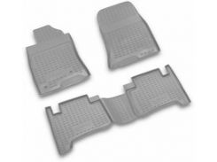 Коврики в салон для Toyota Land Cruiser Prado 120 '03-09 полиуретановые, серые (Novline / Element)