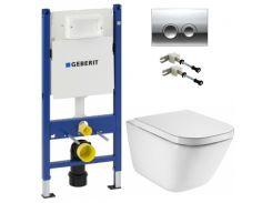 Набор инсталляция для унитаза Geberit Duofix с унитазом Roca GAP Clean Rim и крышкой Soft-Close 458.126.00.1+115.125.21.1+A34H47C000