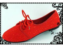 Туфли текстильные. Красные. низкий ход. распродажа остатков (39)