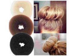 Бублик пончик для волос черный 10 см