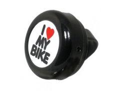 Звонок Green Cycle GCB-1051A-BK I love my bike cтальной черный (BEL-88-42)