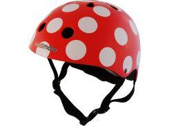 Шлем детский Kiddimoto красный в белый горошек Размер S (48-53 см)
