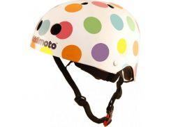 Шлем детский Kiddimoto белый в цветной горошек Размер M (53-58 см)