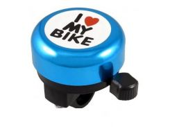 Звонок Green Cycle GBL-251 I love my bike cтальной синий (BEL-53-26)