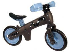 """Беговел 12"""" Bellelli B-Bip обучающий 2-5лет, пластмассовый, чёрный с синими колёсами (BIC-56)"""