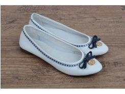 Балетки женские кожаные Bridget белые с синим