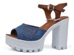 Босоножки женские джинсовые на каблуке Ersax темно-синие с коричневым