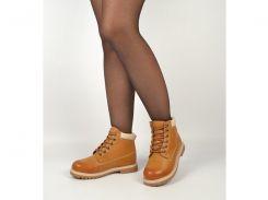 Ботинки женские зимние желтые эко-кожа «Каприз»