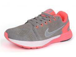 Кроссовки женские замш Nike Lunarglide 7 Running серые с розовым