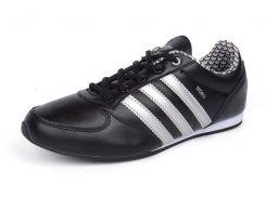 Кроссовки кожаные черные с белым Adidas Midiru Индонезия