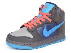 Кроссовки хайтопы кожаные прошитые Nike серые с синим и коралловым