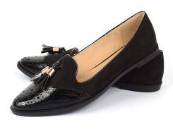 Туфли женские лоуферы черные с кисточками лаковый носок Victoria